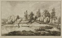LANDSCAPE WITH A POND, A BOAT AND A BUILDING [Ferdinand Kobell (1740-1799) Matthias Schmidt (1749-1823)]
