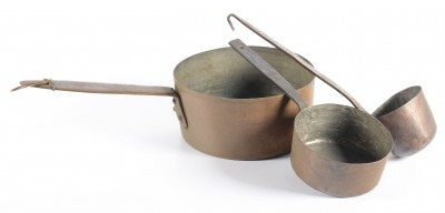 Copper pots and ladle