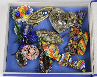Collection of beaded brooches