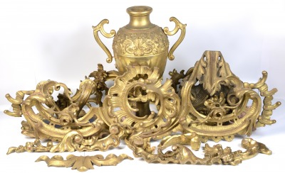 Set of gilt carvings, relief decorations, console