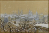 View of snow-covered Prague [Adolf Liebscher (1857-1919)]