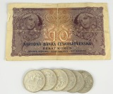 Jaroslav Horejc (1886-1983): Set of silver coins and a bank note []