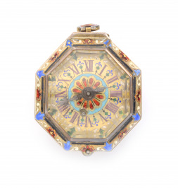 Octagonal silver verge fusee watch with enamels
