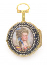 Ladies pocket watch in a case with a miniature []