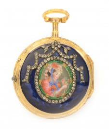 Gold ladies pocket watch verge fusee with blue guilloché enamel