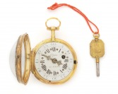 Gold ladies pocket watch verge fusee with blue guilloché enamel []