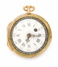 Gold pocket watch verge fusee with enamel []