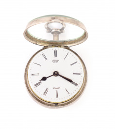 Silver pocket watch in two outer cases