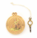 Gold pocket watch with a hunting scene []