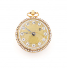 Gold ladies pocket watch with pearls