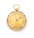 Gold pocket watch with turquoises []