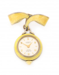 Silver pendant watch with enamels