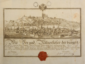 Certificate of Apprenticeship of Butcher`s Guilt with a view of Prague []