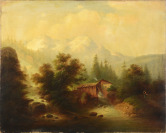 Windmill in Alps [Leopold Stephan - připsáno (1826-1890)]
