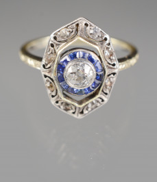 Gold Ring with Sapphires and a Diamond