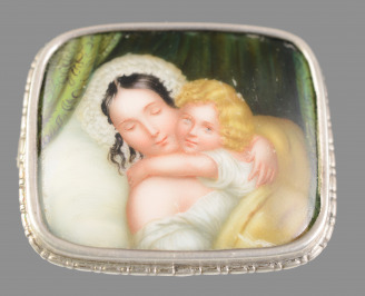 Brooch with a Painting on Porcelain