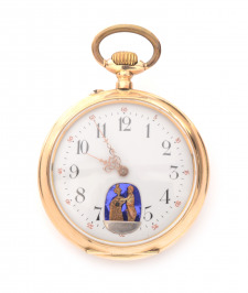 Gold Pocket Watch with an Erotic Scene