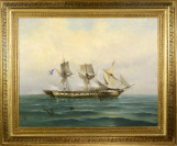 French Ship in a Battle [Spyridon Scarvelli (1868-1942)]