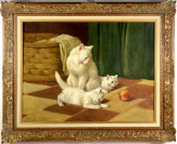 Angora Cat with two Playing Kittens and a Ball [Arthur Heyer (1872-1931)]