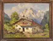 Alpine Landscape with a Cottage [Bohumil Berghauer (1910-1972)]