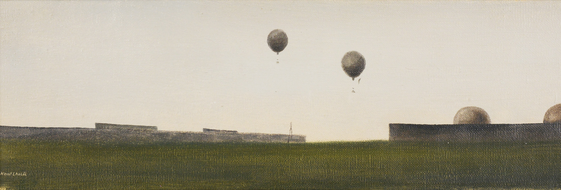 Hot air balloon races, 1942 | Sold for 1.620.000 CZK | Lot. nr. 182 [Kamil Lhoták (1912 - 1990)]